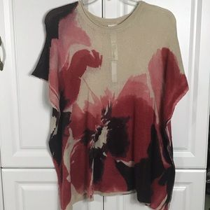 Large Floral Print Boxy Knit Poncho Top One Size